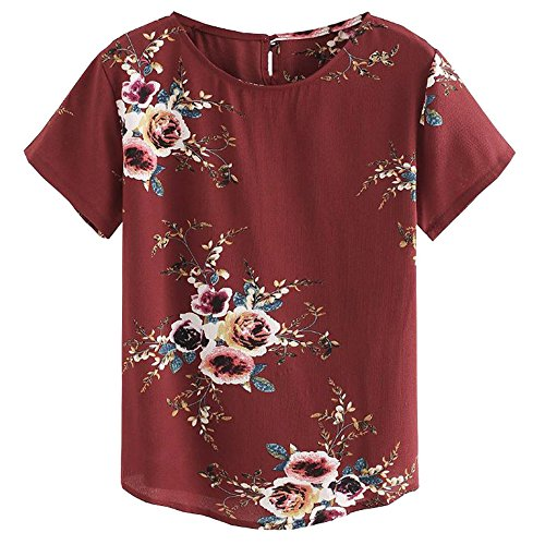 Women's Short Sleeves Floral Printed Blouse Round Neck Keyhole Back Loose Casual Top T-Shirt Red M
