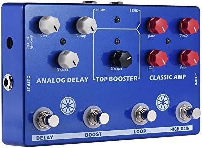 ammoon Efecto Pedal Efectos Múltiples 4 en 1 Guitarra TONO MAKESTATON Procesador CLASSIC AMP Booster Analog Retardo FX LOOP EQ