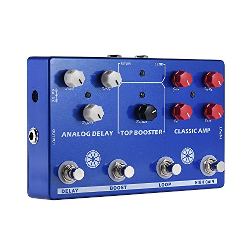 ammoon Multi-effects 4-in-1 Guitar TONE MAKESTATON Effect Pedal Processor CLASSIC AMP Booster Analog Delay FX LOOP - Classic Effect Tremolo