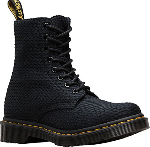 Dr.Martens Womens Page Waffle 8 Eyelet Cotton Boots Negro