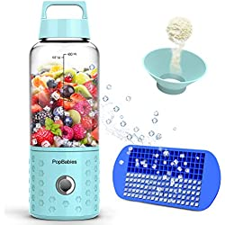 PopBabies Personlblender001 Smoothie Blender for single served, USB Rechargeable Small Blender for Shakes and Smoothies, Stronger and Faster with Ice Tray Funnel Recipe, Carolina Blue(FDA BPA free)
