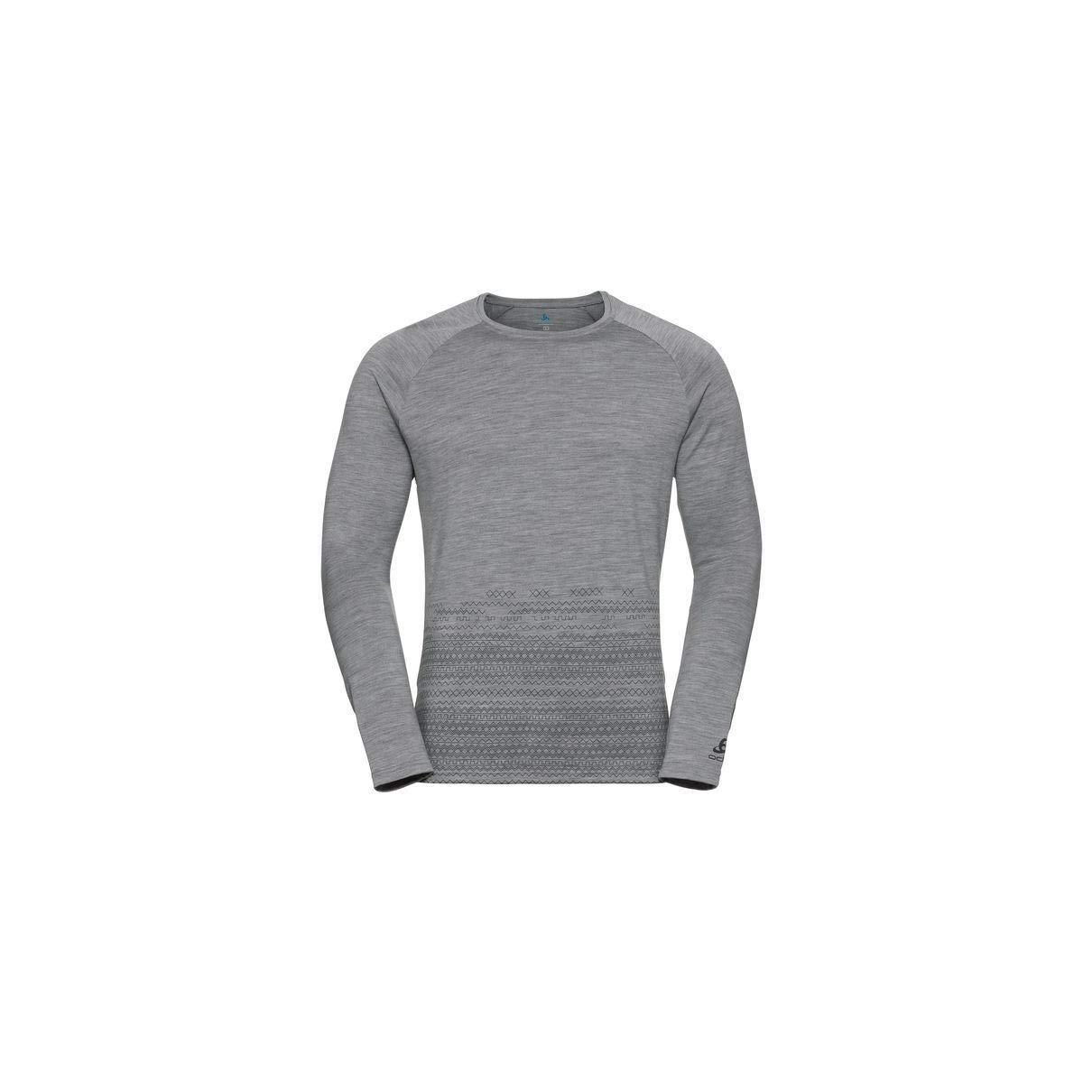 Odlo Alliance Crew Neck Shirt - Grey Melange/Geometric Print FW19