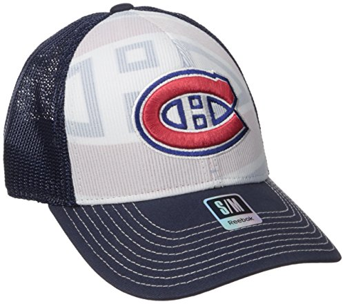 NHL Montreal Canadiens Men's Face-Off Formation Structured Flex Cap, Small/Medium, Navy