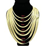 Herringbone Chain 20'' Inches Necklace 14K Gold Plated 4mm upto 14mm width