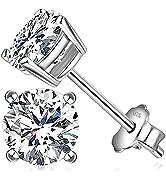 Jewlpire 925 Sterling Silver Stud Earrings for Women amp; Girls -Diamond Earrings for Women - 18K Wh...