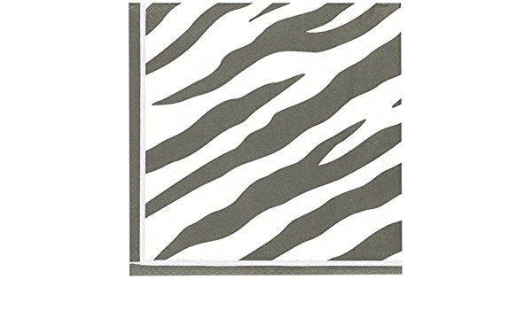 16 Pack 6.5 x 6.5 amscan Disposable 2-Ply Lunch Napkins in Leopard Print White//Brown//Black