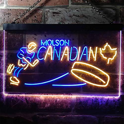 zusme Molson Canadian Hockey Novelty LED Neon Sign Blue + Yellow W12 x H8