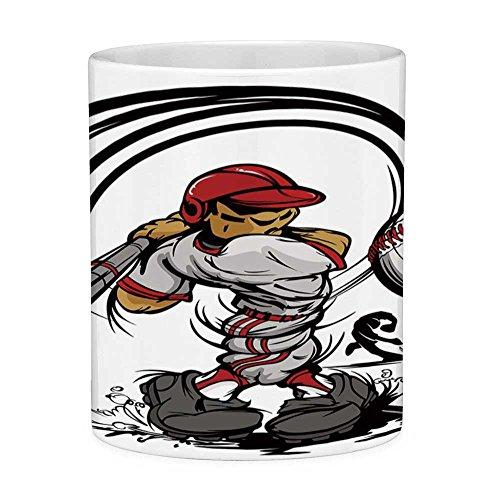 - Funny Coffee Mug with Quote Teen Room Decor 11 Ounces Funny Coffee Mug Baseball Cartoon Player Hitting the Ball Boys Kids Caricature Print Grey Red White
