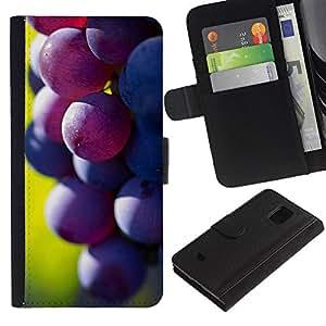 Planetar® Modelo colorido cuero carpeta tirón caso cubierta piel Holster Funda protección Para Samsung Galaxy S5 Mini / SM-G800 (Not For S5!!!) ( Fruit Macro Dark Grape )