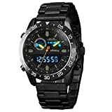 INFANTRY Mens Dual Time Multifunction Military Tactical Analog Digital Sport Watch with Black Stainless Steel Band