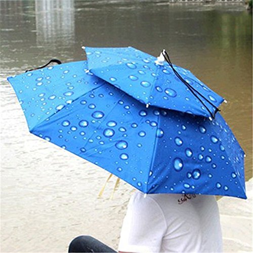 Reinhar Top Selling Fishing Umbrella Hat Double Layers Cycling Outdoor Parasol Hiking Beach Sunshade Anti-UV Umbrella Hat Cap - Hat Beach Malaysia