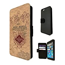 446 - Harry Potter Inspired The Marauder's Map Design Fashion Trend TPU Leather Flip Case For Apple iPhone 6 Full Case Flip TPU Leather Purse Pouch Defender Stand Cover