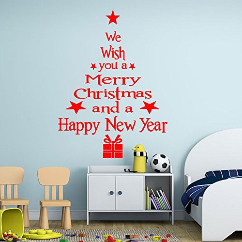 Gotian Merry Christmas Wall Sticker Tree Letters Stick Mural Home Room Decor Wall Art Decal (Red2) (Magic Touch Solar Mosquito Zapper With Light)