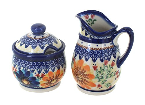 (Polish Pottery Autumn Burst Cream & Sugar Set)