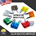 1 Combo Kit (110 Pieces - 10 of each fuse) 1-35 AMP MINI APM/ATM 32V Mini Blade Style Fuses Short Circuit Protection Car Fuse plue 1 fuse puller