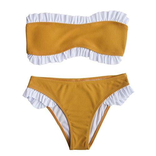 IMAYIO Ruffled Swimsuits Sexy Women's Ribbed Bandeau Bikini Set (Yellow, Small) (Ruffle Bandeau)