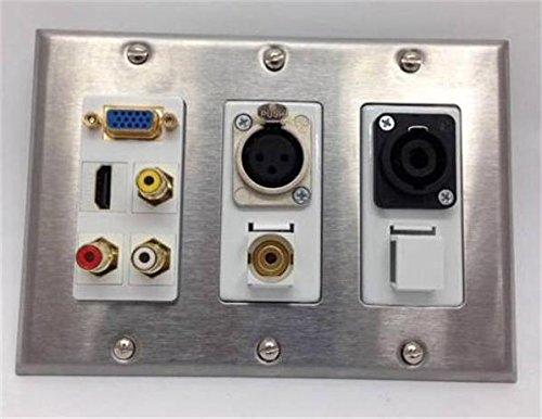 CERTICABLE TRIPLE GANG WALL PLATE 1-VGA 1-HDMI 1-3.5mm 1-SPEAKON 1-XLR 3-RCA