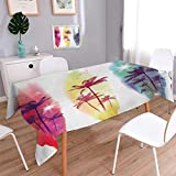 Anmaseven Tropical Square Customized Tablecloth Palm Trees Birds Seagulls Pattern Silhouette Surfboards Seascape Stain Resistant Wrinkle Tablecloth Purple Fuchsia Light Yellow Size: W60 x L60