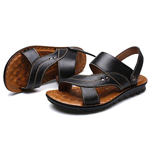 Playa Al Chanclas Genuino Suave De Sandalias Aire Verano De Para Zapatos De Libre Black Hombres Casual Cuero Pantuflas Antideslizantes Masaje Base 0dngBd