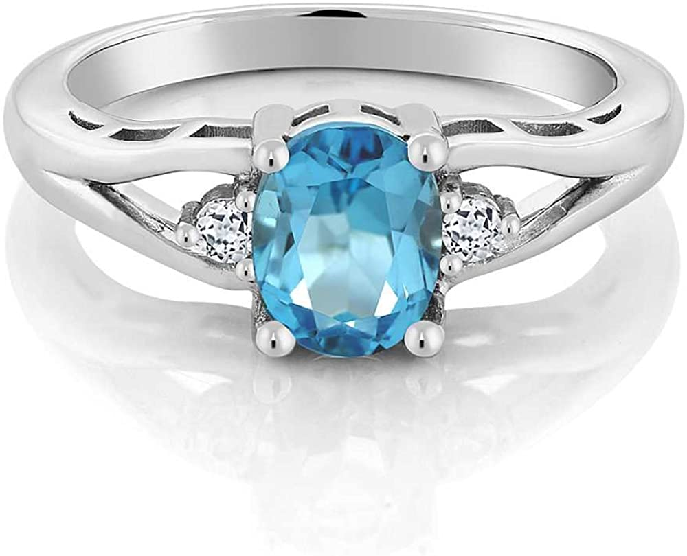 Details about  /Big Simulated Blue Topaz Stone 925 Sterling Silver Ring