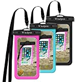 Windpnn 3 Pack Universal Cellphone Waterproof Case, Clear Transparent Dry Bag Pouch for for Outdoor Activitie Swimming, Surfing, Fishing, Skiing, Boating, Beach(Black, Blue, Pink)