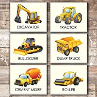 Boys Trucks - Art Prints (Set of 6) - Unframed - 8x10s | Construction Wall Decor