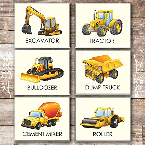 Boys Trucks - Art Prints (Set of 6) - Unframed - 8x10s | Construction Wall - Dump Truck Wall
