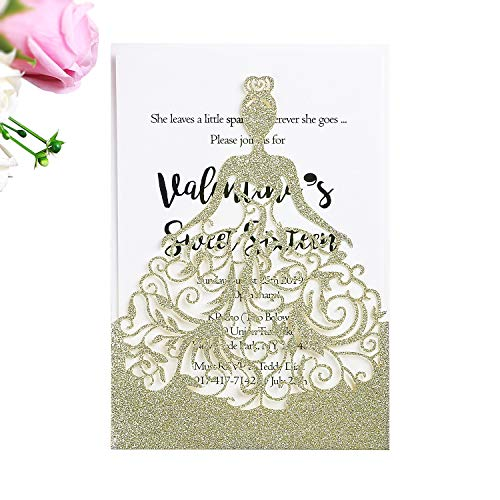 (PONATIA 25PCS Laser Cut Crown Wedding Invitations Cards for Birthday Sweet 15 Quinceañera Party Invite, Wedding Bridal Engagement Invite (Champagne Gold Glitter))