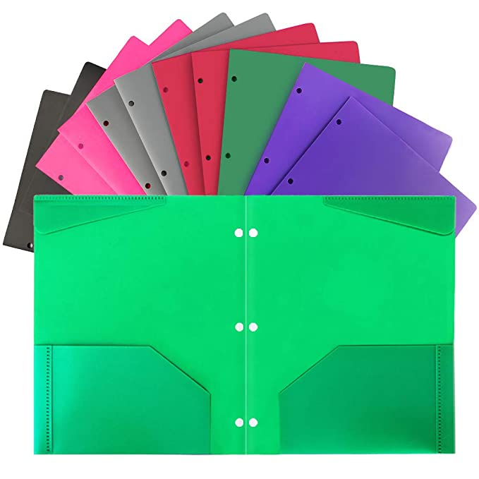 Plastic Folders with Pocket and 3 Hole 12PCS Heavy Duty 2 Pocket Plastic Folders Letter Size for School Work and Home Assorted Colors