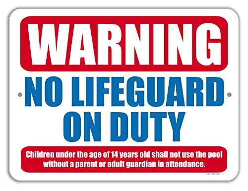 (Honey Dew Gifts Pool Decor, Warning No Lifeguard on Duty 9 inch by 12 inch Metal Aluminum Pool Signs, Swimming Pool Outdoor Signs, Made in USA)