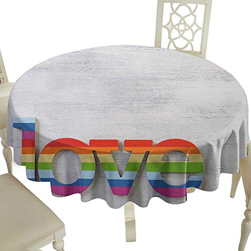 Cranekey Flower Tablecloth 50 Inch Pride,Rainbow Colored Love Valentines Sign on Wooden Backdrop LGBT Homosexuality Culture,Multicolor Suitable for Home Coffee Bar,Party,Wedding,& More ()