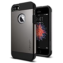 iPhone SE Case, Spigen Tough Armor iPhone SE Case with Extreme Heavy Duty Protection and Air Cushion Technology for iPhone SE / 5S / 5 - Gunmetal