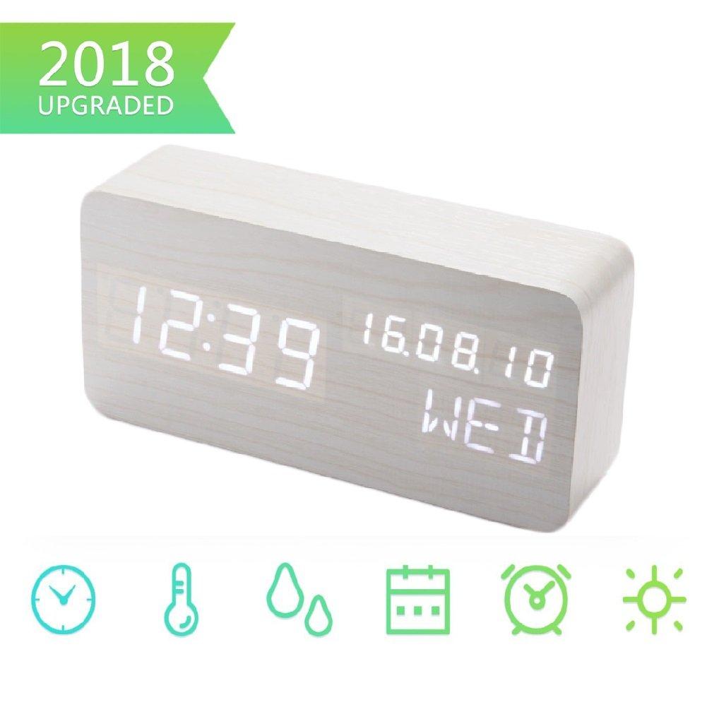 Digital Alarm Clock, Wood Digital Clocks with 3 Alarms 3 Brightness Voice Control LED Display Temperature Humidity, Mini Travel Clock Wooden Clock for Home Bedrooms Office Kids Teens Bashley