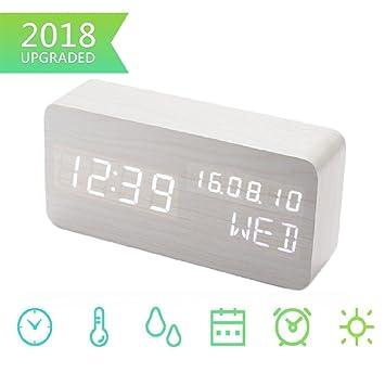 Bashley Despertador Digital, Reloj de Madera LED Que Muestra la Temperatura y la Humedad: Amazon.es: Hogar