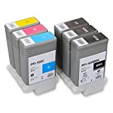 Aomya PFI-102 Compatible Ink Cartridge 6 Pack Ink Tank for Canon iPF700 iPF710 iPF720 iPF760 iPF650 iPF655 iPF750 130ml (2MBK, 1BK, C, M, Y)