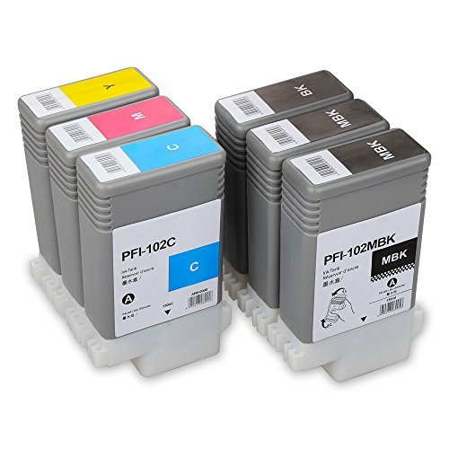 6 Pack Ink Cartridge Compatible for Canon PFI-102 PFI-104 Ink Tank 130ML for iPF650 iPF655 iPF750 iPF760 iPF765 Large Format Printer(2MBK, 1BK, C, M, Y)
