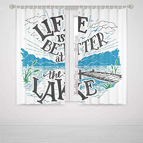 - YOLIYANA Cabin Decor Decor Collection,Life is Better at The Lake Wooden Pier Plants Mountains Outdoors Sketch Decorative,for Bedroom Living Dining Room Kids Youth Room, 2 Panel Set,103W X 72L Inches