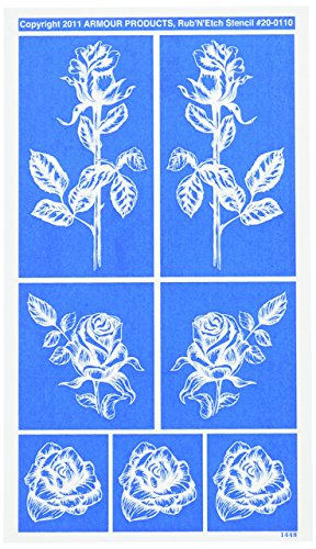 [해외]르 기 'N'Etch Designer 스텐 슬 5x8 - 상세 장미/Rub `N` Etch Designer Stencil 5x8-Detailed Roses