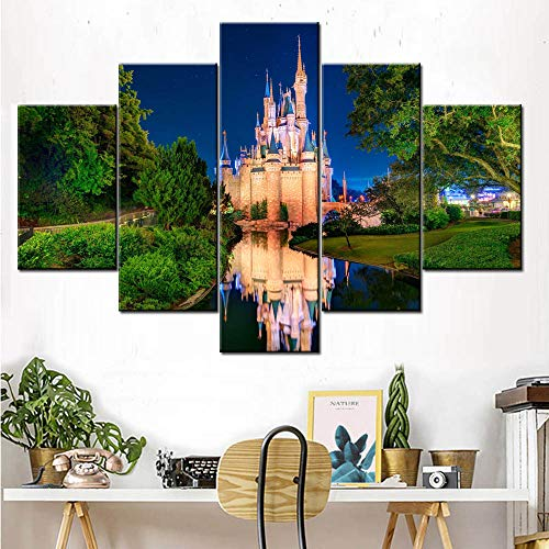 Pictures for Girls Room 5 Panel Canvas Wall Art Cinderellas Castle Painting Fairtyle Artwork for Home Decor Modern for Living Room Posters and Prints Framed Gallery-Wrapped Ready to Hang(60''Wx40''H)