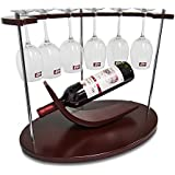Best Small Wine Rack With Glass Holder by AMZNEVO, Unique / Countertop / Free Standing / Wooden, 1 Bottle & 6 Glasses Stemware Organizer For Kitchen Furniture Decoration