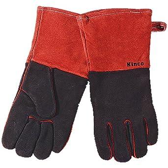 Kinco 7900-l Hombres de la soldadura de cuero/guantes de chimenea, calor Reflector forro, grande, rojo/negro: Amazon.es: Amazon.es