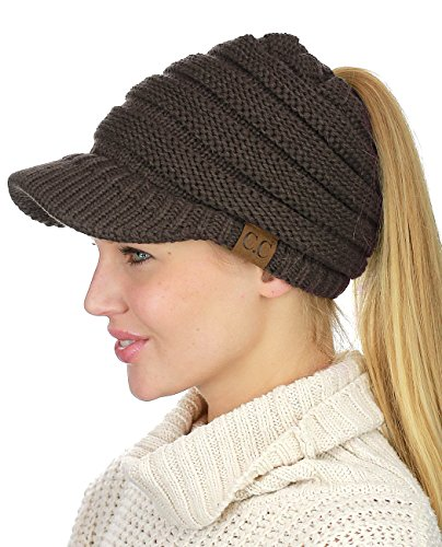 C.C BeanieTail Warm Knit Messy High Bun Ponytail Visor Beanie Cap, Brown