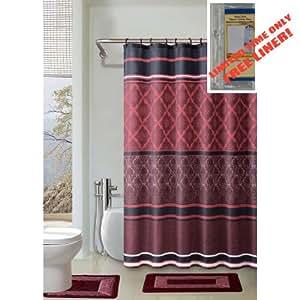 Burgundy black red 4 piece bathroom set 2 rugs mats 1 fabric shower curtain 12 for Dark red bathroom accessories