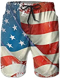 13cb52f765 Grunge American Flag Swim Trunks Quick Dry Beach Board Home Water Sports  Men's Shorts