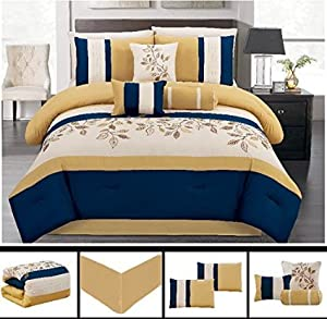 Dovedote Bahama Paradise Comforter Set, Yellow Blue Embroidery, Queen