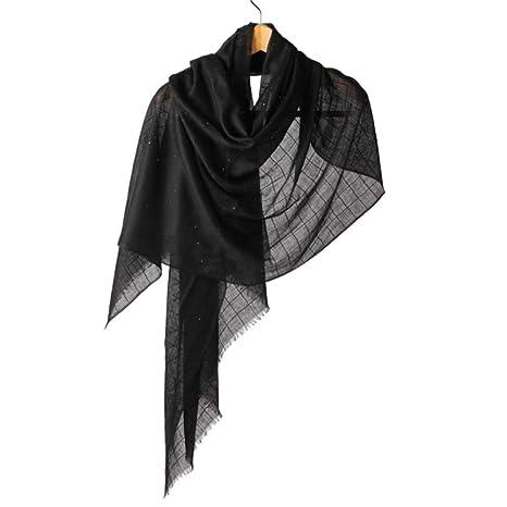 1280022763774 TYJH Couleur Unie Écharpe en Cachemire Plaid Sequin Climatiseur Été  Chaleur,Black