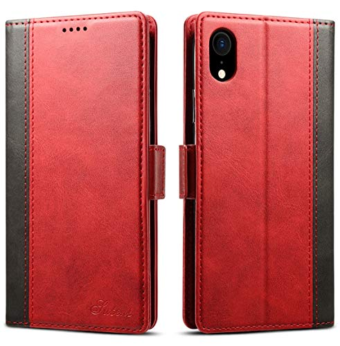 iPhone XR Wallet Case, SINIANL Leather Flip Folio Wallet Cover with Kickstand Card Slots & ID Holder Magnetic Closure TPU Shockproof Protective Case for iPhone XR 6.1 inch