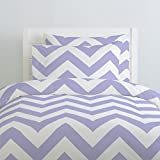 Carousel Designs Lilac Large Chevron Duvet Cover Twin Size - Organic 100% Cotton Duvet Cover - Made in the USA
