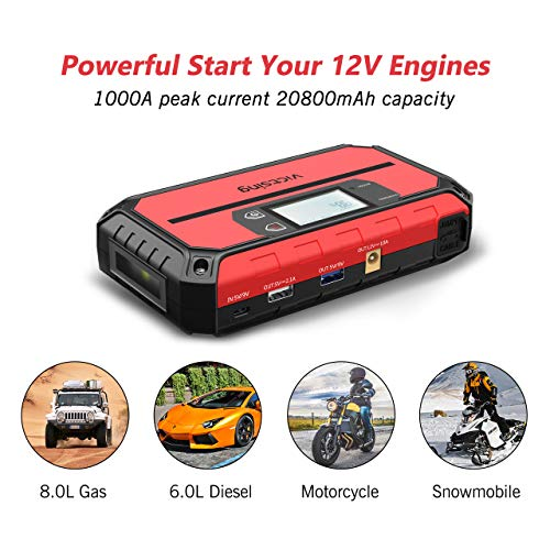 VicTsing Portable Car Jump Starter 1000A Peak 20800mAh (Up to 8.0L Gas, 6.0L Diesel Engine), 12V Auto Battery Booster,5 in 1 Compact Power Pack with QC3.0 Output, Built-in Compass and LED Light by VicTsing (Image #1)