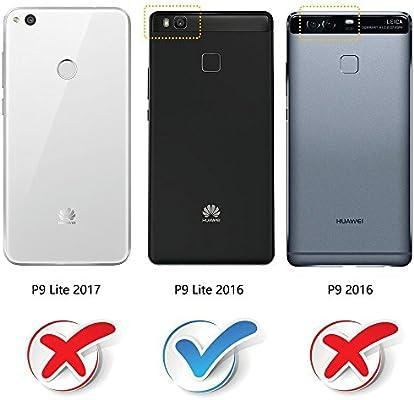MOBESV Funda Cartera Huawei P9 Lite, Funda Cuero Movil Huawei P9 Lite Carcasa Case con Billetera/Soporte para Huawei P9 Lite - Negro